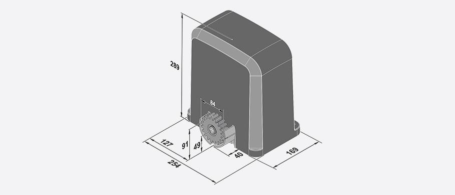 Dimensions des automatismes pour portail coulissant STArter S2 et STArter S2+ de SOMMER